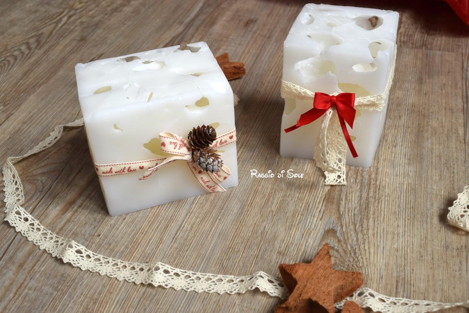 Decorare Candele Bianche : Idea regalo candele effetto ghiaccio raggio di sole