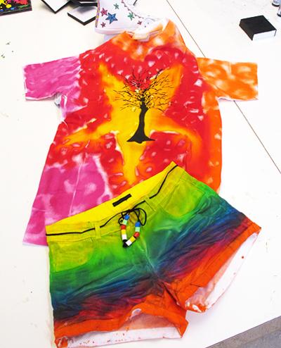Palett textilfärg spray