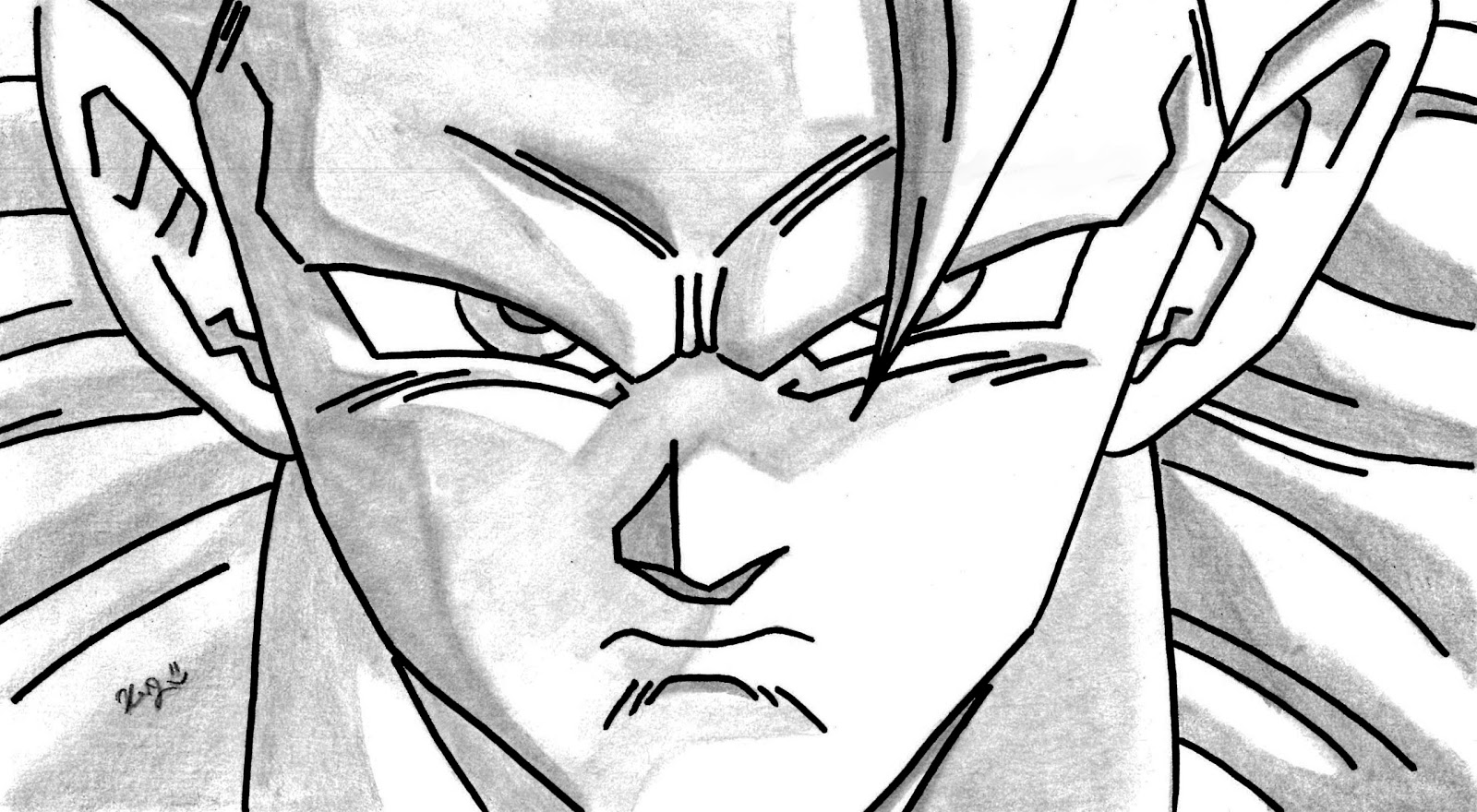 dibujos y caricaturizacion a la carta Son Goku mi dibujo a lapiz