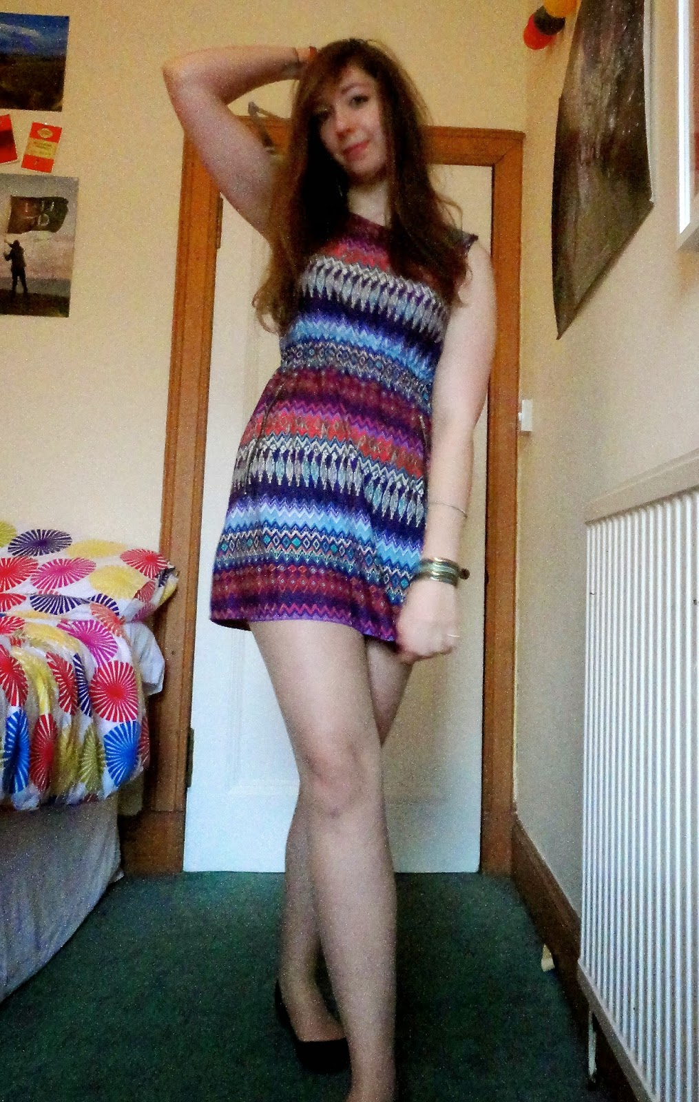 Tropical | outfit of bright patterned dress, black flats and colourful jewellery