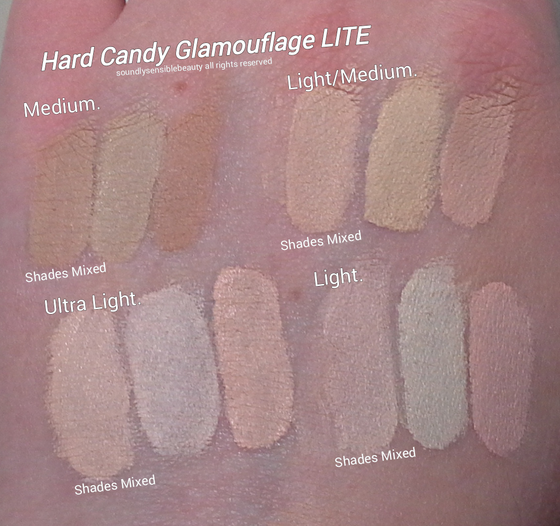 Hard Candy LITE Glamoflauge Concealer Duo; Review & Swatches of Shades  Light/Medium, Light, Ultra Light