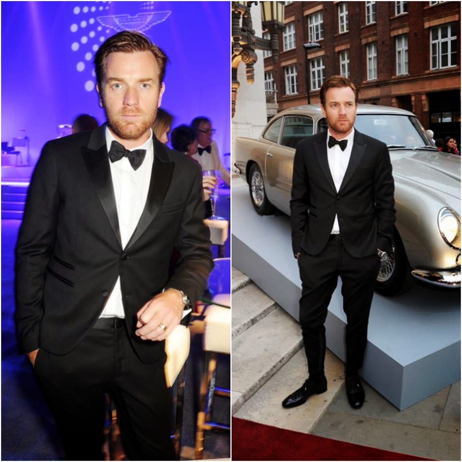 00O00 Menswear Blog: Ewan McGregor in Neil Barrett and Jimmy Choo 'Prescott' patent leather and suede shoes - Aston Martin's Centenary Birthday Party, London July 2013
