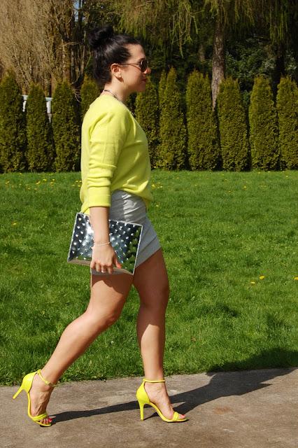 Joe Fresh cashmere sweater, Forever 21 skirt, Prabal Gurung for Target heels and Ela Editor's Pouch clutch