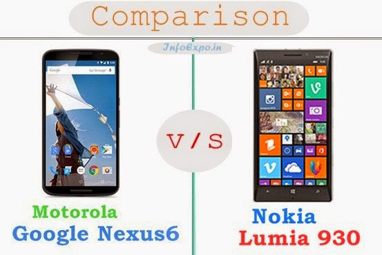 Nokia Lumia 930 versus Motorola Google Nexus 6 specifications and features comparison RAM,Display,Processor,Memory,Battery,camera,connectivity,special feature etc