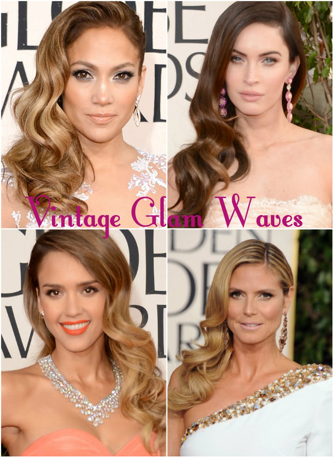 vintage glam waves, retro waves, 2013 golden globe, hair trend, side-swept wave