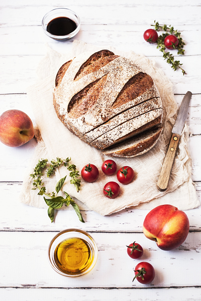 Bread, Peaches and Tomatoes