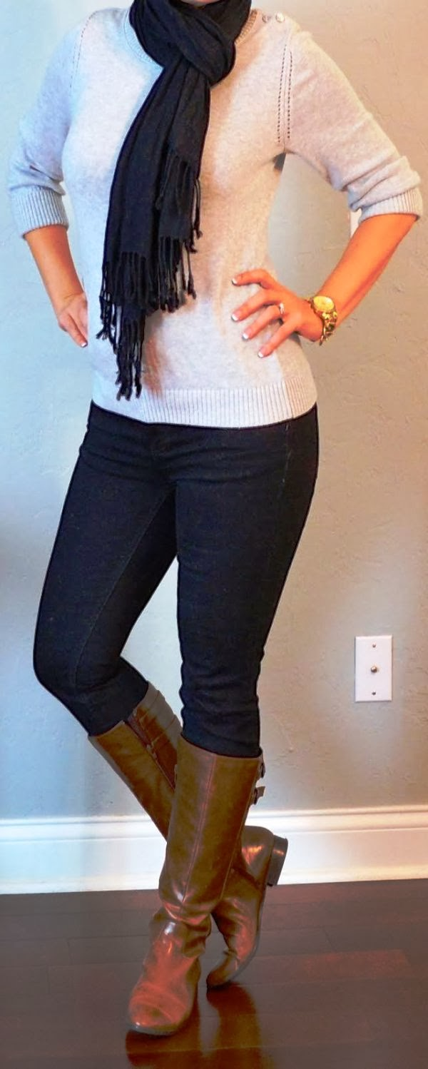Casual outfits with scarf, sweater, jeans and boots
