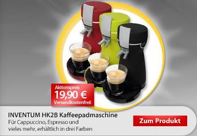 Padmaschine Inventum HK2B Cafémezzo bei MeinPaket für 19,99 Euro inklusive Versandkosten