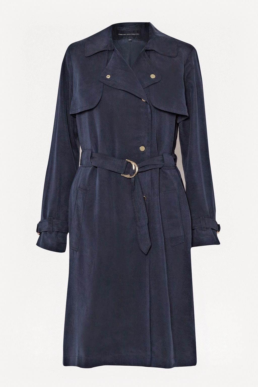 french connection navy mac, french connection navy trenchcoat,