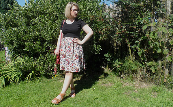 New Look Crop Top; ASOS Full Skirt; ASOS Bag, New Look Tan Sandals
