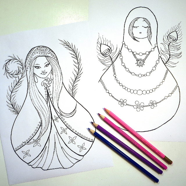 Matryoshka Doll Russian Coloring Book Pages
