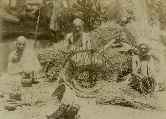 Kashmiri Men weaving Baskets - 1880s