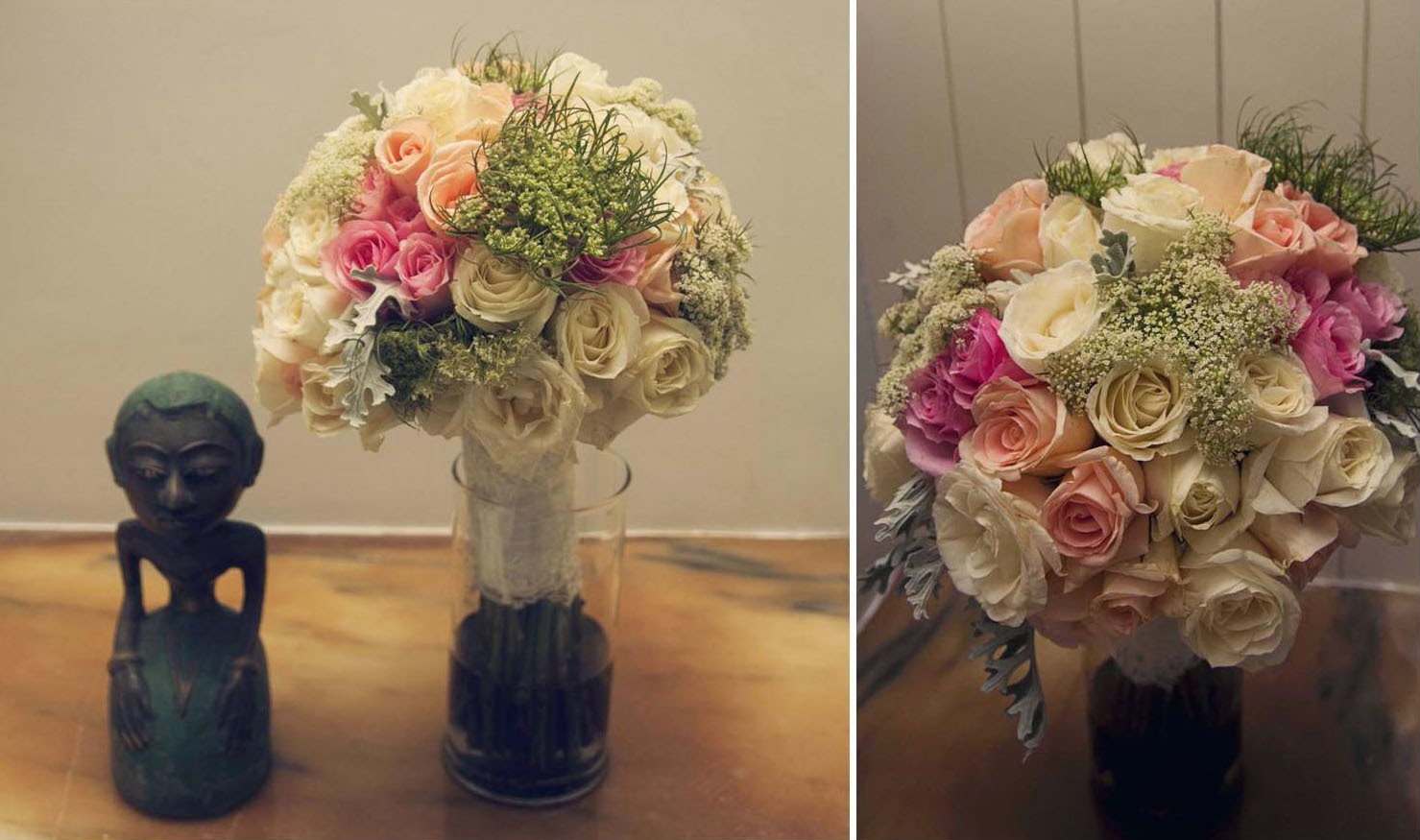 pink roses, peach roses, off white roses, ammi majus and dusty Miller with white laces wrapped around the stem.