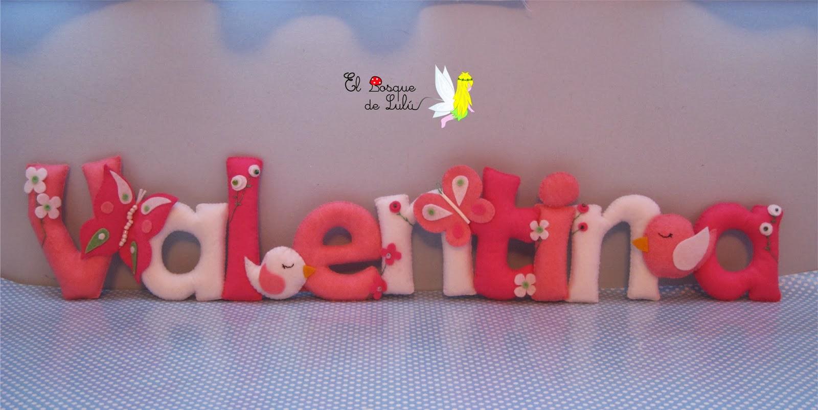 El bosque de lul nombre decorativo en fieltro para valentina - Letras infantiles para puertas ...