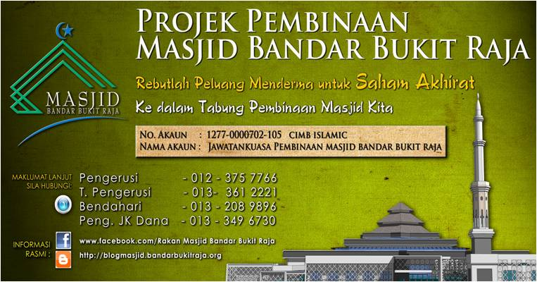Rayuan Derma Pembinaan Masjid Bandar Bukit Raja