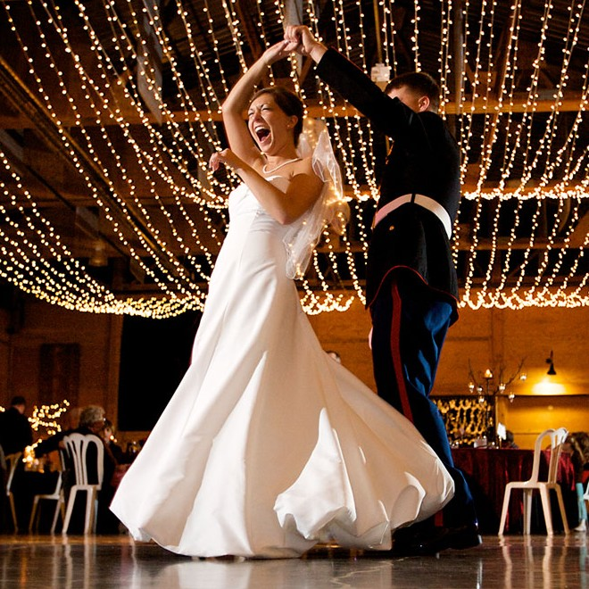 Wedding Dance Floor Decorated with Strings of Twinkle Lights Simple strands