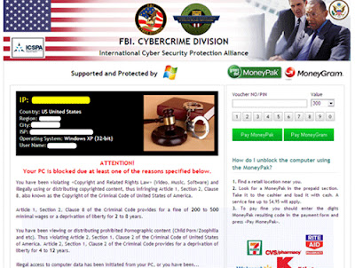 FBI. Cybercrime Division Virus Screenshot