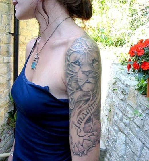 Lion tattoos designs animal shapes black for girls for Lion tattoos for females