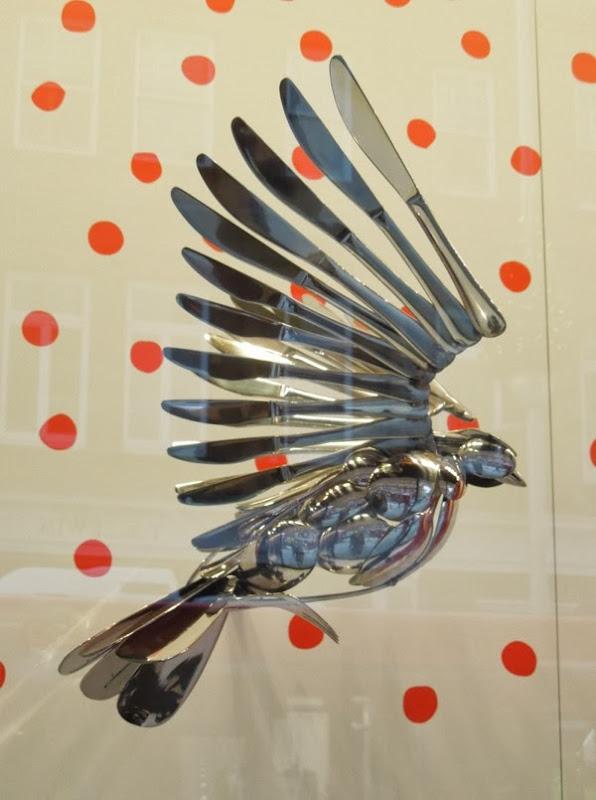 Cutlery bird Peter Jones Christmas window display