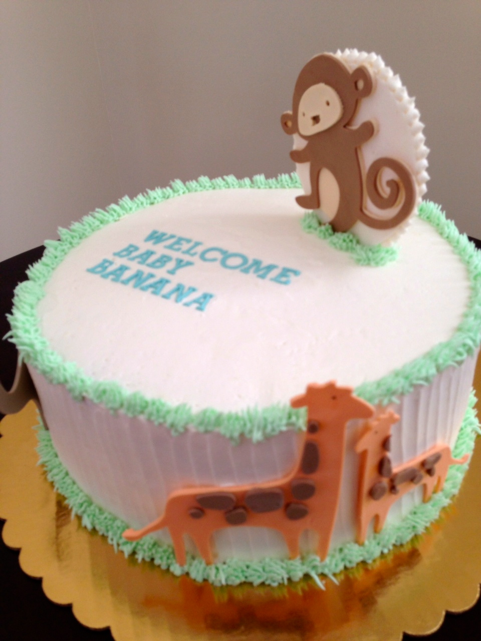 party style modern animal baby shower cake