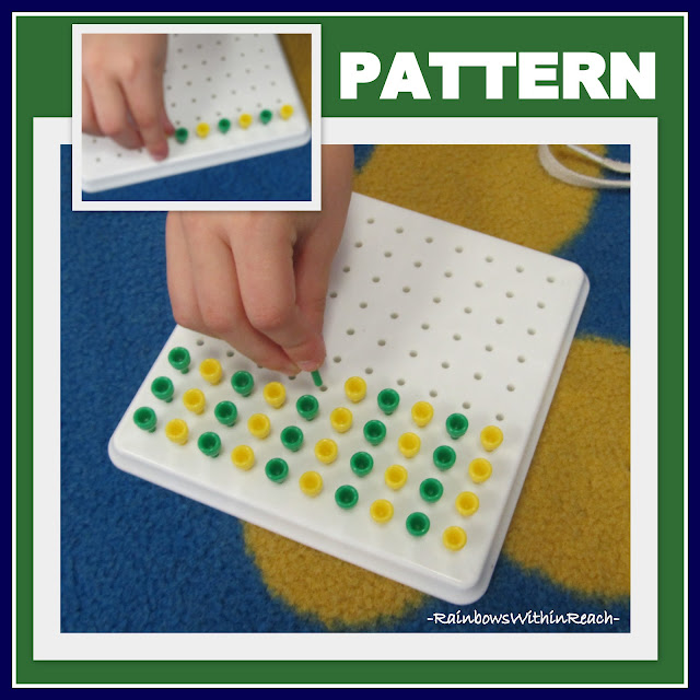 photo of: Fine Motor Skill Development with Pegs on Pegboard, Creating an AB pattern in Kindergarten