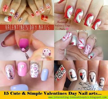 15 cute & simple Valentines day nail arts diy