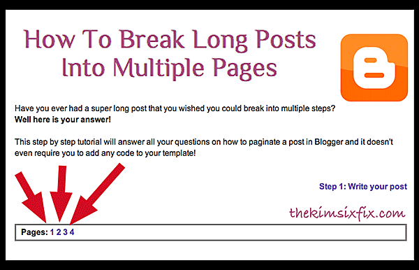 How to Break A Post Into Multiple Pages (Paginate) on Blogger - Kim ...