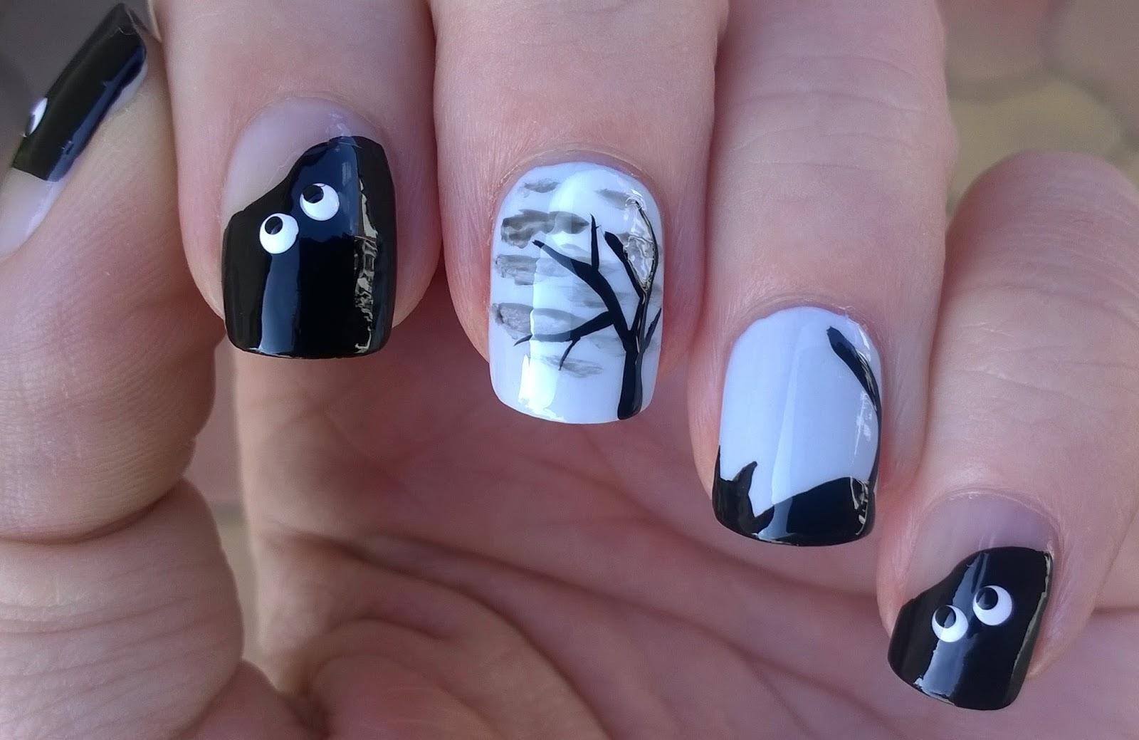 halloween nail ideas black cat tip tree u0026 designs