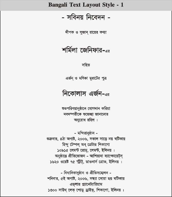 Wedding and Jewellery: Bengali marriage card matter in bengali
