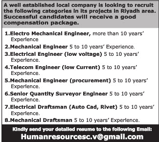 A WELL ESTABLISHED LOCAL COMPANY IS LOOKING TO RECRUIT THE FOLLOWING CATEGRORIES IN ITS PROJECT IN