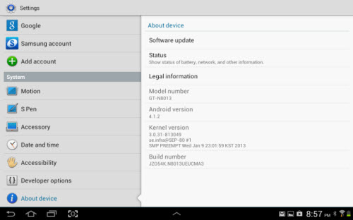 How to Check Hardware and Software Version of Galaxy Tablet