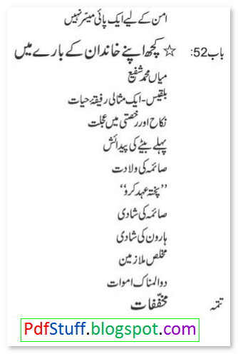 Contents of Urdu book Jahan-e-Hairat by Sardar Mohammad Chaudhry