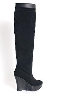 cizme negre inalte peste genunchi cu platforma ortopedica din piele naturala velur