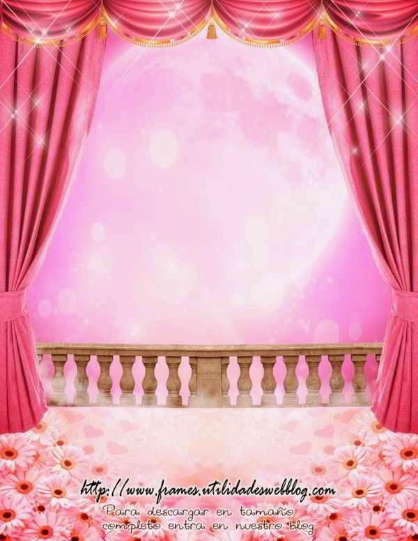 Fondos de ensueño para fotomontajes de 15 años con balcón cortinas y luna llena