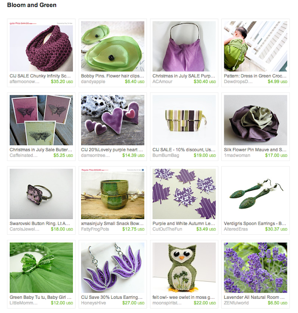 treasury of featured shop items in dusty purple and moss green colors