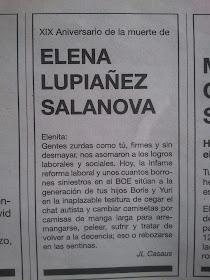 Esquela del XIX aniversario de Elena Lupiáñez