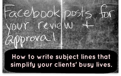 "Image of chalkboard with a sample subject line ""Facebook posts for your review and approval,"" followed by the title of this post How to write subject lines that simplify your clients' busy lives by Ann Abbott"