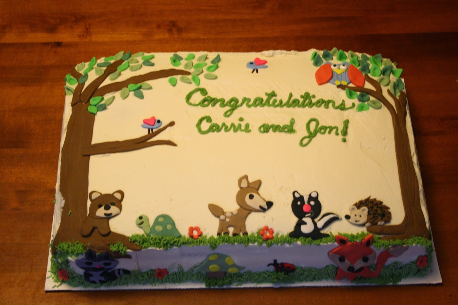 Sues Sweet Creations Woodland Animals Theme Baby Shower Cake