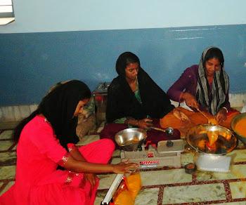 Rural women working in their micro entriprise
