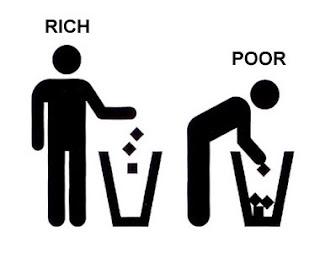 Rich guy throws garbage away, poor guy rumages bin for garbage