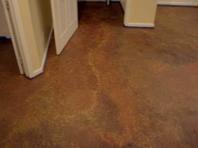 Cool home creations finishing basement faux finished floor for Cement paint colors for floors