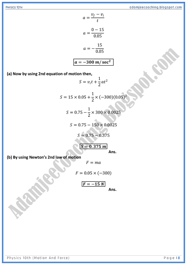 motion-and-force-solved-numericals-physics-10th
