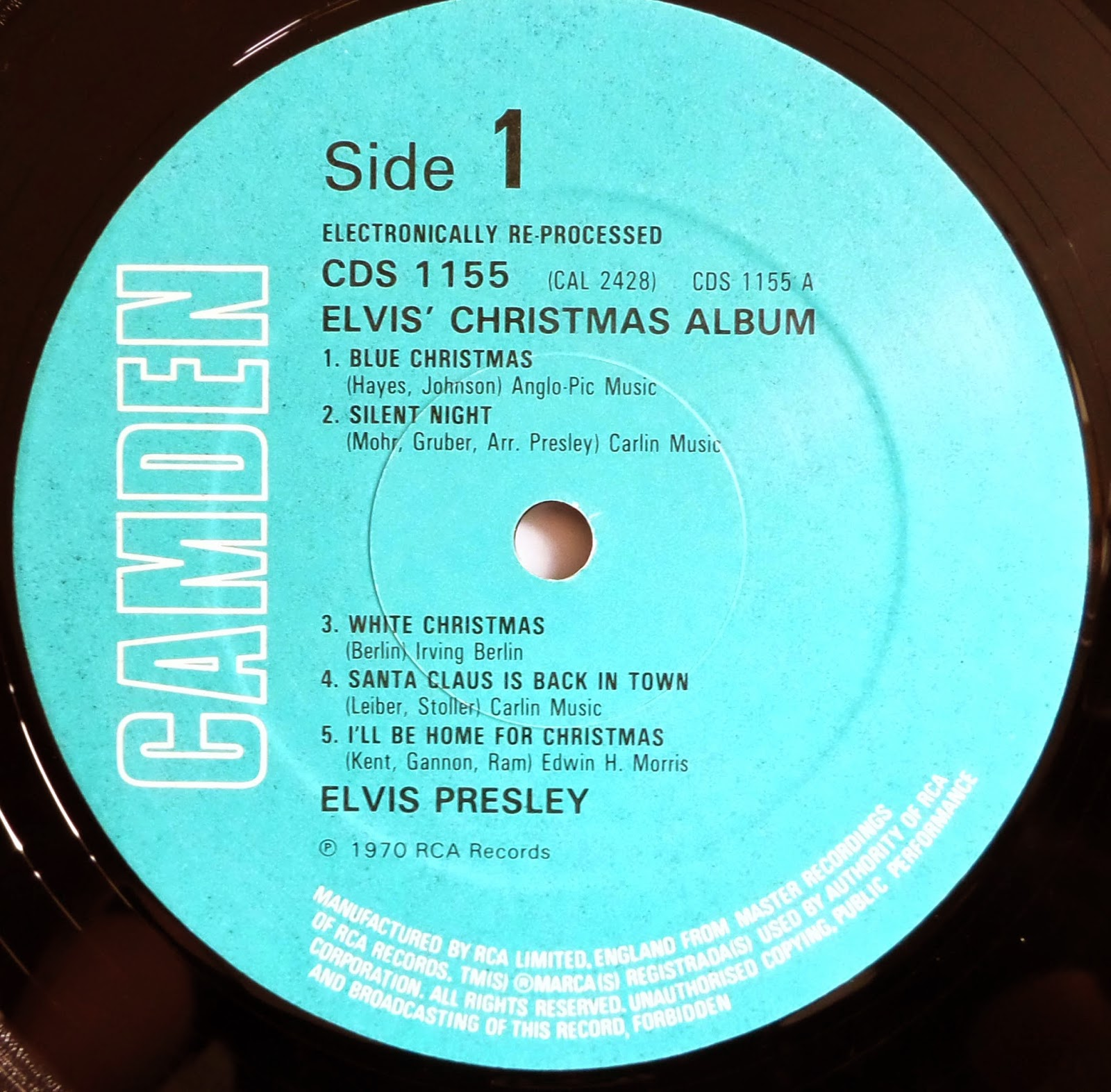 81 CDS1155. ELVIS CHRISTMAS ALBUM. 1981 PRESSING. CAMDEN/TURQUOISE ...