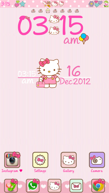 Pretty Droid Themes Hello Kitty V3 Go Launcher Theme