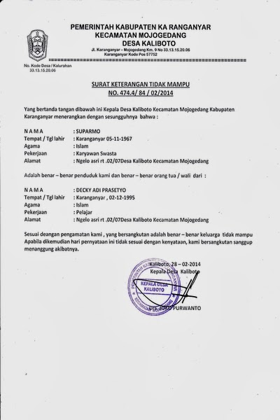 Contoh Surat Keterangan Tidak Mampu Dari Kepala Desa Lurah