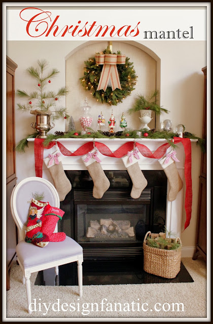 diy design fanatic, christmas, christmas mantel, christmas decorating