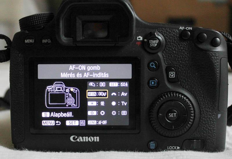 Canon 6D AF-ON beállítása: AF-ON gomb