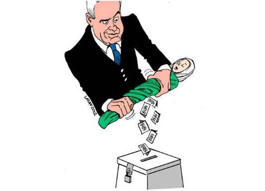 Latuff - Charge - sangue palestino e as eleições em Israel