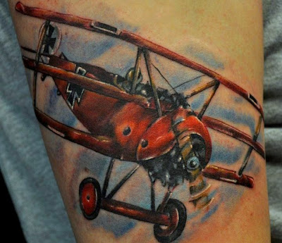 Red Airplane WWII Tattoo