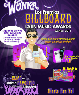 premio cámara video Flip y (1) Rumba Pack con selección de dulces Wonka concurso nacion wonka Billboard Latin Music Awards 2011